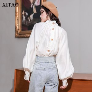 Xitao 2020 Primavera New Womens Tops e Blusas Tribunal Vintage Estilo Minority camisa branca Moda elegante Mulheres Roupa DMY2460