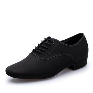 Erkek Latin Balo Salonu dans ayakkabıları profesyonel siyah tuval Latin Salsa Ayakkabı artı boyutu düşük topuk Tango Balo Salonu dans ayakkabıları