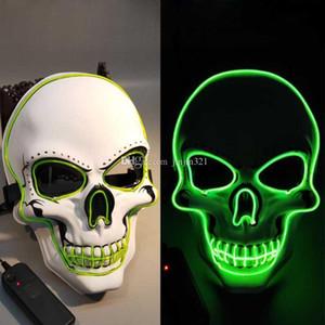 Halloween LED Schädel-Maske 6 Styles Glühende Horror Theme Maske Art und Weise EL-Draht-Maskerade Cosplay Partei Spielzeug Halloween Supplies