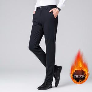 Winter Elastic Navy Blue Long Dress Pants Man Slim Fit Straight Thick Warm Formal Suit Pants Plus Size Business Office Wear Hot