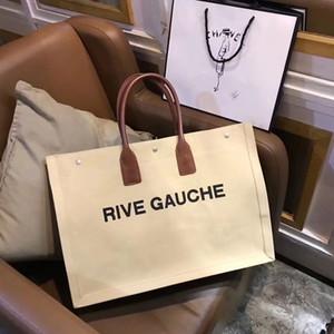 2018 mujeres de la marca Bolso de cuero genuino Cabas Slp Rive Gauche bolsa de cuero granuloso taleguilla del hombro de compras bolsas de mano al aire libre