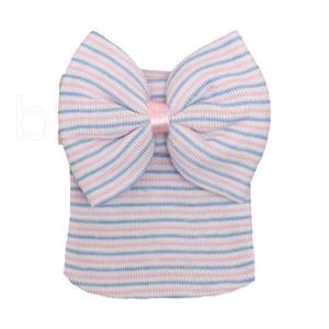 Nouveau-né Big Bow Chapeaux bébé Crochet Knit Caps bébé crâne Bonnet hiver chaud rayé ruban bowknot Tire Cap 8style RRA2224