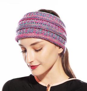 Örme at kuyruğu Kafa 20colors Örme Tığ Geniş Hairband Kadınlar Kış Açık Headwrap hairbands Kulak Isıtıcı Kulaklık GGA2893