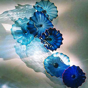 Flower Wall Lamps for Home Decor Wall Art Blue Shade Decorative Plates Handmade Murano Glass Wall lamps American Customized Cluster
