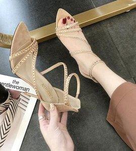 Горячие продажи-Новые женские повседневные летние сексуальные бриллианты тонкий каблук на высоком каблуке римские сандалии