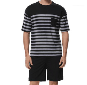 Home Clothing Striped Panelled Contrast Color Short Sleeve Shorts 2PCS Set Mens 2020 Luxury Designer Tracksuits Men