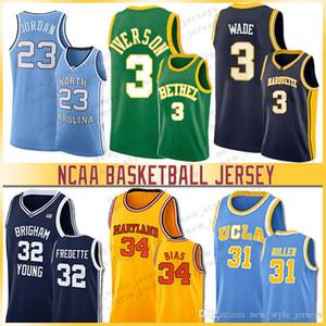 32 Jimmer Fredette 3 Iverson 34 Len Bias Westbrook NCAA 23 Lebron Jersey Brigham Young Cougars 30 köri Üniversitesi Basketbol Formalar Miller