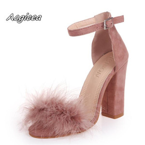 2020 Ankle Strap Super high heels Faux Fluffy Rabbit Fur Women Sandals 10 CM High Heel Summer Lady Shoes Pumps Zapatos Mujer T200529