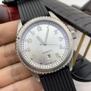 Пилот B01 Мужские часы автоматические движения Авто Дата Luminous Серебряный циферблат 46MM Дата Часы Soft Black Rubber Band Мужские Наручные часы