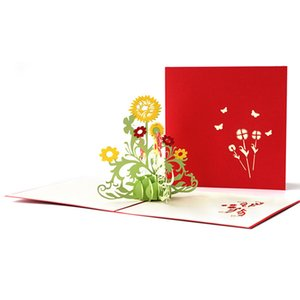 Greeting Card creativo per i bambini di personalità 3D di Sun del fiore di carta fatta a mano di scultura Grazie Hollow È Birthday Card