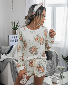 Casual women Home Comfortable and Fashionable Printed Ladies Suit two piece set jumpsuits Elastic Waist rompers womens jumpsuit