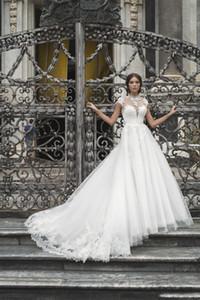 2019 Belle qualité col montant dentelle robes de mariage mancherons Sheer Décolleté Une ligne Robes de mariage Robes de mariée Appliqued Vintage