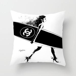 2020 nueva moda de poliéster funda de almohada 45 * 45cm casa sofá de la sala sencilla y cómoda funda de cojín (sin almohada)
