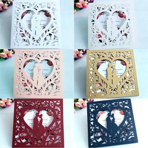 결혼식 초대장 카드 DIY 개인 중공 신부 초대 카드 결혼식 약혼 파티 초대장 카드 화이트 아이보리 화이트 색상