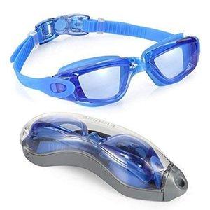 Mounchain Unisex Außenschwimmbrillen Brillen mit Verpackungskasten HD wasserdichten Anti-Fog-Anti-UV-Schwimmbrille Wassersport