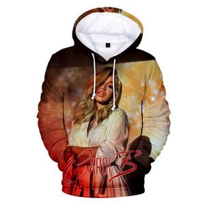 Fashion-Female Rapper Cardi B Цифровой печать Hat фуфайки Красочной Длинные рукава Обычной O Шея Womens Толстовка