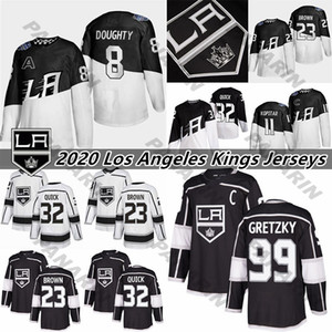 Los Angeles Kings 11 Anze Kopitar 32 Jonathan Quick 8 Drew Doughty 99 Wayne Gretzky cosido Negro hockey jerseys