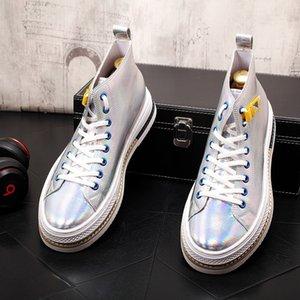 2020 Yeni Trend Erkekler Rasgele yüksek bağcıklı altın gümüş Platformu Shoes'un spor ayakkabısı Gençlik Man Eğilimleri Boş Ayakkabı başında