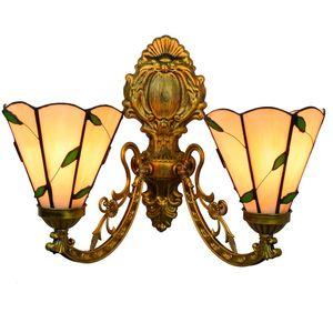 corredor creativa lámpara de pared de doble cabeza Europea creativo pared pintada salón cálido comedor de vidrio de color de la hoja se ilumina TF010