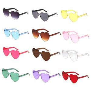Amor Heart Shaped Sunglasses Mulheres sem aro Quadro Tint Limpar Lens óculos de sol coloridos Rosa Vermelho tons de amarelo