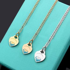 2020 acier de titane chaud 316L huile verte gouttes conception de coeur de la personnalité des femmes collier pendentif bijoux collier amour