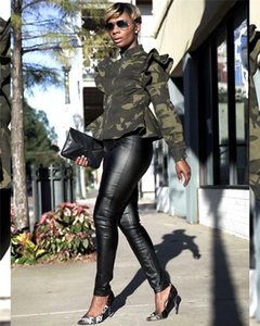 Womens Designer Camouflage Jackets Stand Collar Long Sleeve Ruffles Coat Spring Autumn Womens Coats