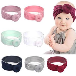 INS SICAK Bebek Turban Bantlar Yuvarlak Bun Başkanı Wrap Stretch Bow Sevimli Kız Elastik Yumuşak Saç Bandı Naylon topuz Kafa Yuvarlak BK2