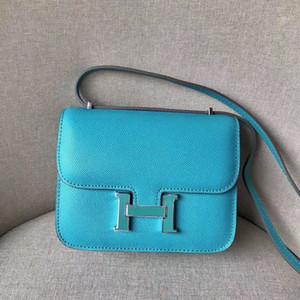 Eşarp ile 19cm cowskin Gölü Mavi hakiki deri çanta Moda Tasarımcısı Çanta Marka Askılı çanta lüks kadın Lady comstanse Çanta gel