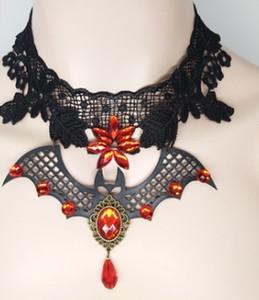 Vampir Fledermaus Halskette Schlüsselbein weiblichen schwarzen Spinnennetz Lace Choker Mitternacht Teufel Feuer Halloween Teufel Lace Halskette mit roten Perlen Drop XL09