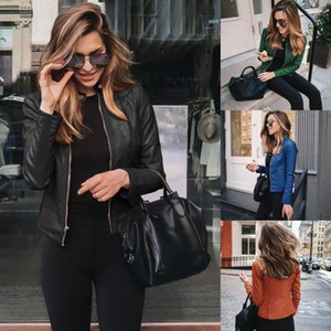 2020 Fashion Designer Women Fall Winter Short Suit Jacket Autumn Womens All-match Blazer Jackets Lady PU Leather Coats Outerwear 12 Colors