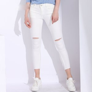 Ladies Jeans Women Designer Pants White Jeans Woman With Holes Slim Denim Ripped Jeans For Women High Waist Stretch Capris Jean Femme