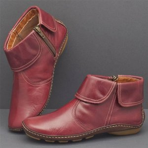 Women's Ankle Boots Roman Round Head Casual Shoes Autumn Winter Fashion Women's High Quality PU Leather Women's Martin Boots