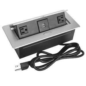 Zinc Alloy Plate 16A Slow POP UP 2Power USA and Charge USB Socket Office Meeting Room Hotel Table Desktop Outlet Black Module Steel Box
