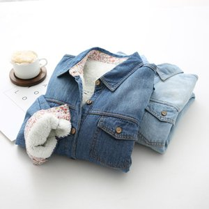 Women Warm Winter Plus Velet Denim Shirts Korean Classic Blue Thick Long Sleeve Jeans Blouse Female Turn-down Collar Basic Blusa