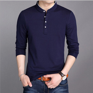 2020 New Men's Stand Collar Cotton T-shirt Youth Fashion Casual Long-Sleeved T-shirt