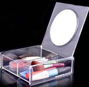 Fashion Square 2 espacio Caja de Almacenamiento de Cristal Transparente organizador de maquillaje Cosmético Acrílico Clear Jewelry Display Case con Espejo SN2370