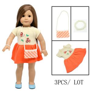 18 Zoll American Girl Puppe Kleidung Orange Pullover Kleid mit Perlenarmband und Tasche für Kinder Party Geschenk Spielzeug - Puppe Kleidung Zubehör