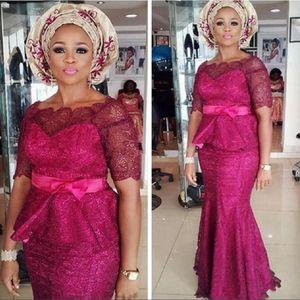 2020 madre del cordón Arabia árabe fucsia de la novia más el tamaño de vestidos de boda formal reducida vestidos de noche con el marco africanos Madrina Vestidos