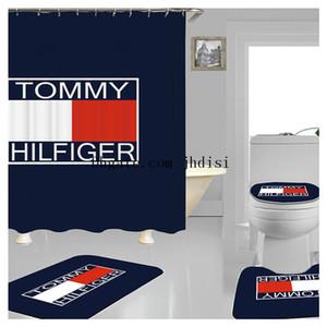 Kreative Digital Print Duschvorhang Rot Weiß Logos Muster Bade Vorhang New Polyester Badezimmer Sets Home Decor Dusche SuppliesJH01