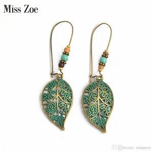 Miss Zoe Brons Hollow Leaf Kralen Oorbellen Charme Danglers Bohemen Etnische Vintage BOHO Vakantie Oor Sieraden Gift voor Vrouwen