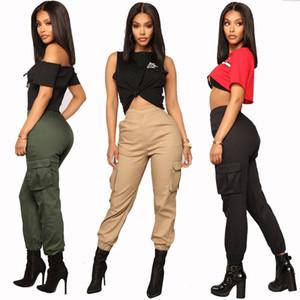 Mujeres estiramiento lápiz de los pantalones de cintura alta bolsillos Pantalón cargo flaco Jeggings ocasionales adelgazan los pantalones