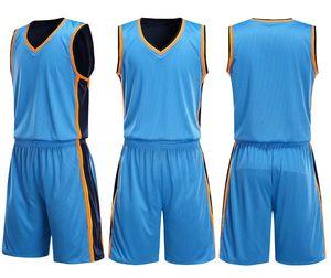 Personalità Personalizzata Double-sided indossando tuta da basket set maglie vuote, set universitari di basket con pantaloncini, indossano abiti da allenamento personalizzati