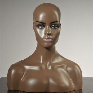 Busto realista venta Negro de piel de fibra de vidrio maniquí Cabeza para la peluca y sombrero joyería B-6