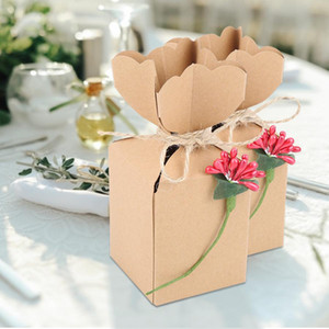50pcs Mini Unique Favor Box Party Favor Candy Box Vintage Kraft Paper With Rope for Wedding Baby Shower Party Candy Gift Bag