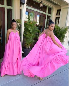 Boyut Katı Renk Kasetli Günlük Elbiseler Dişiler Seksi Backless Giyim Kadın Spagetti Askı Oversize Elbise Yaz Tasarımcı 5XL Artı