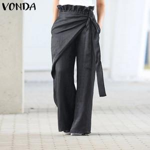 VONDA mujeres pierna ancha pantalones 2020 de primavera y verano casual para mujeres Pantalones de cintura elástica Pantalones de gran tamaño de las mujeres inferior Pantalon S-5XL
