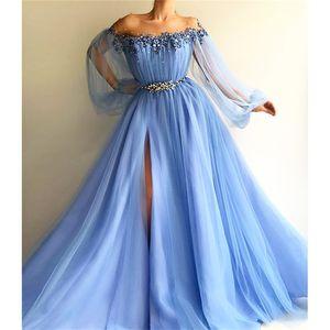 Элегантное небесно-голубое жемчужное платье для выпускного вечера с бисером Роскошное платье с открытыми плечами и длинными рукавами Вечернее платье с длинными рукавами