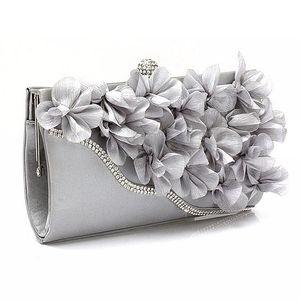 Borsa da sera satinata frizione da sposa borse a catena di fiori da sposa Designer-dcos DCOS Shoulder Lady Handbag Urjha