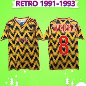 arsenal soccer jersey WRIGHT # 8 РАЙТА 1991 футбола Джерси 1993 РЕТРО прочь желтый 91 93 марочного футбол рубашка Классического SMITH ХИНЬ Šuker HENRY Camiseta де fútbol