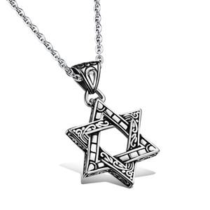 2018 Acier Titane Hexagonal étoile collier pendentif HipHop style religieux vintage juif Six Pointed Star Hommes David Star Pendant Bijoux